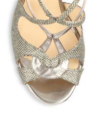 Jimmy Choo Gray Sazerac Glitter Metallic Leather Strappy Sandals