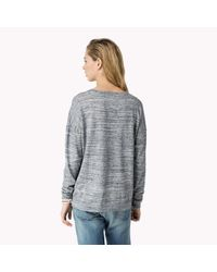Tommy Hilfiger - Gray Cotton Oversized Sweater - Lyst