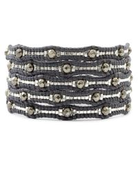 Chan Luu | Black Pyrite Scalloped Wrap Bracelet On Natural Grey Leather | Lyst