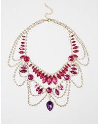 Little Mistress - Metallic Statement Gem Drape Necklace - Lyst