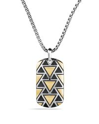 David Yurman | Metallic Frontier Tag Necklace With 18k Gold for Men | Lyst