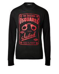 DSquared² - Black Long Sleeve Logo Tee for Men - Lyst