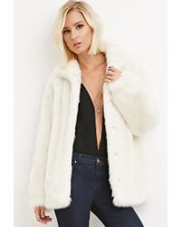 Forever 21 - Natural Faux Fur Coat - Lyst