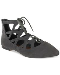 MIA | Gray Anamarie Lace-up Pointed-toe Flats | Lyst