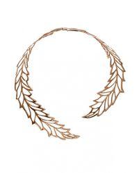 Bernard Delettrez | Metallic Big Leaf Necklace | Lyst