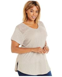 Style & Co. | Natural Style&co. Plus Size Crocheted T-shirt, Only At Macy's | Lyst