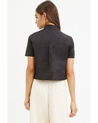 Forever 21 | Black Layered Boxy Collared Top | Lyst