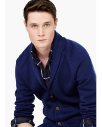 Mango - Blue Shawl Collar Cotton Cardigan for Men - Lyst