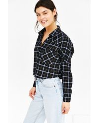 BDG | Black Olly Checked-Print Flannel Shirt | Lyst