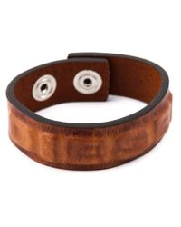 DIESEL - Brown Embossed Logo Bracelet for Men - Lyst