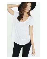 Express - White Mixed Fabric Deep V-neck Tee - Lyst