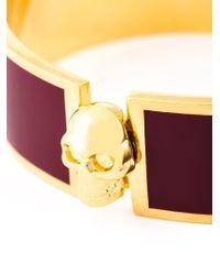 Alexander McQueen - Red Enamel Skull Bracelet - Lyst