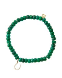 Sydney Evan - Green 6Mm Faceted Emerald Beaded Bracelet With Mini Yellow Gold Pave Diamond Disc Charm (Made To Order) - Lyst