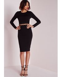 Missguided | Long Sleeve Metal Trim Midi Dress Black | Lyst