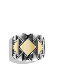 David Yurman | Metallic Signet Ring With Gold | Lyst