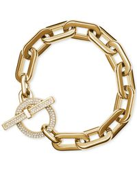 Michael Kors | Metallic Rose Gold-tone Chain Link Toggle Bracelet | Lyst