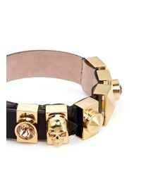 Alexander McQueen - Black Skull And Crystal Metal Loop Leather Bracelet - Lyst