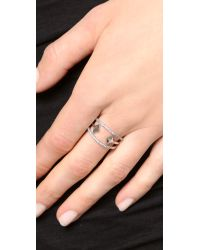 Noir Jewelry | Black Chelsea Ring - Rhodium/Clear | Lyst