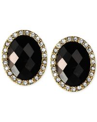 Anne Klein | Black Gold-Tone Jet Stone Button Earrings | Lyst