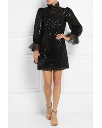 Dolce & Gabbana | Black Sequined Macramé Lace Mini Dress | Lyst