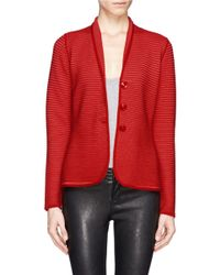 Armani - Red Rib Knit Jacket - Lyst