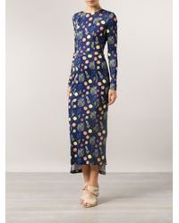 SUNO - Blue Fruit Fitted Dress - Lyst