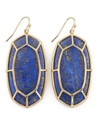 Kendra Scott - Metallic Framed Cabochon Earrings Lapis Lazuli - Lyst
