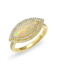 Anne Sisteron   Metallic 14kt Yellow Gold Marquis Opal Double Halo Diamond Ring   Lyst