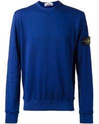 Stone Island - Blue Crew Neck Sweatshirt for Men - Lyst