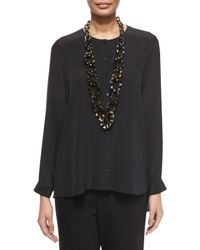 Eileen Fisher | Black Long-sleeve Crepe De Chine Blouse | Lyst