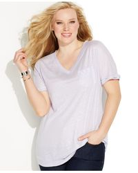 INC International Concepts - Purple Plus Size V-neck Linen Shimmer Tee - Lyst