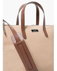 Mango - Pink Zipped Pebbled Bag - Lyst