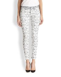 7 For All Mankind - Gray Tailor Floral Jacquard Skinny Ankle Jeans - Lyst