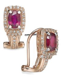 Macy's | Multicolor Ruby (1 Ct. T.w.) And Diamond (1/3 Ct. T.w.) Oval Earrings In 14k Rose Gold | Lyst