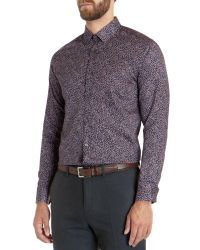 Ted Baker | Red Leojak Print Button Down Shirt - Regular Fit for Men | Lyst