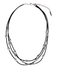 Nine West | Black Three Row Necklace | Lyst