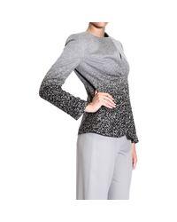 Giorgio Armani - Gray Blazer Neckless Draped Printed Jacket - Lyst