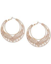 Guess - Metallic Gold-tone Crystal Hoop Earrings - Lyst