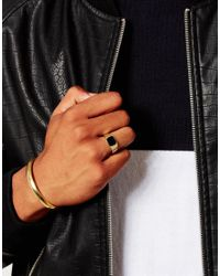 ASOS - Metallic Gold Plated Signet Ring And Bangle Set for Men - Lyst