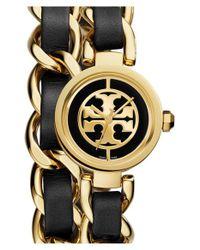 Tory Burch - Metallic 'mini Reva' Double Wrap Chain Watch - Lyst