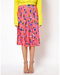 ASOS | Pink Pleated Midi Skirt in Floral Print | Lyst