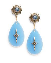 Stephen Dweck | Opal Mosaic Doublet, Blue Agate & Blue Topaz Drop Earrings | Lyst