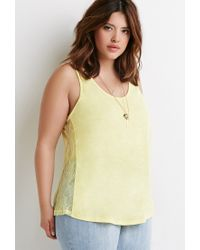 Forever 21 - Yellow Lace-paneled Slub Knit Top - Lyst