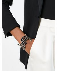 Saint Laurent | Black Signature Monogram Cuff | Lyst