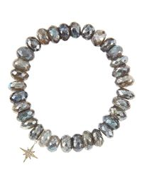 Sydney Evan - Gray 10mm Mystic Labradorite Beaded Bracelet With 14k Gold/diamond Small Starburst Charm (made To Order) - Lyst