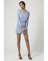 TOPSHOP - Blue Long Sleeve Wrap Dress By Love - Lyst