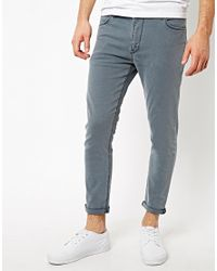 ASOS - Gray Cropped Super Skinny Jean in Washed Grey for Men - Lyst