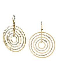 Michael Kors | Metallic Statement Pavé Disc Drop Earrings | Lyst