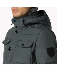 Tommy Hilfiger   Gray Cotton Blend Down Bomber for Men   Lyst