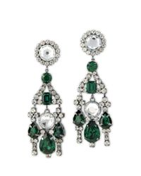 Kenneth Jay Lane | Green Emerald And Crystal Stones Drop Clip Earring | Lyst